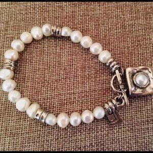 Vintage Silpada Sterling Silver & Pearl Bracelet